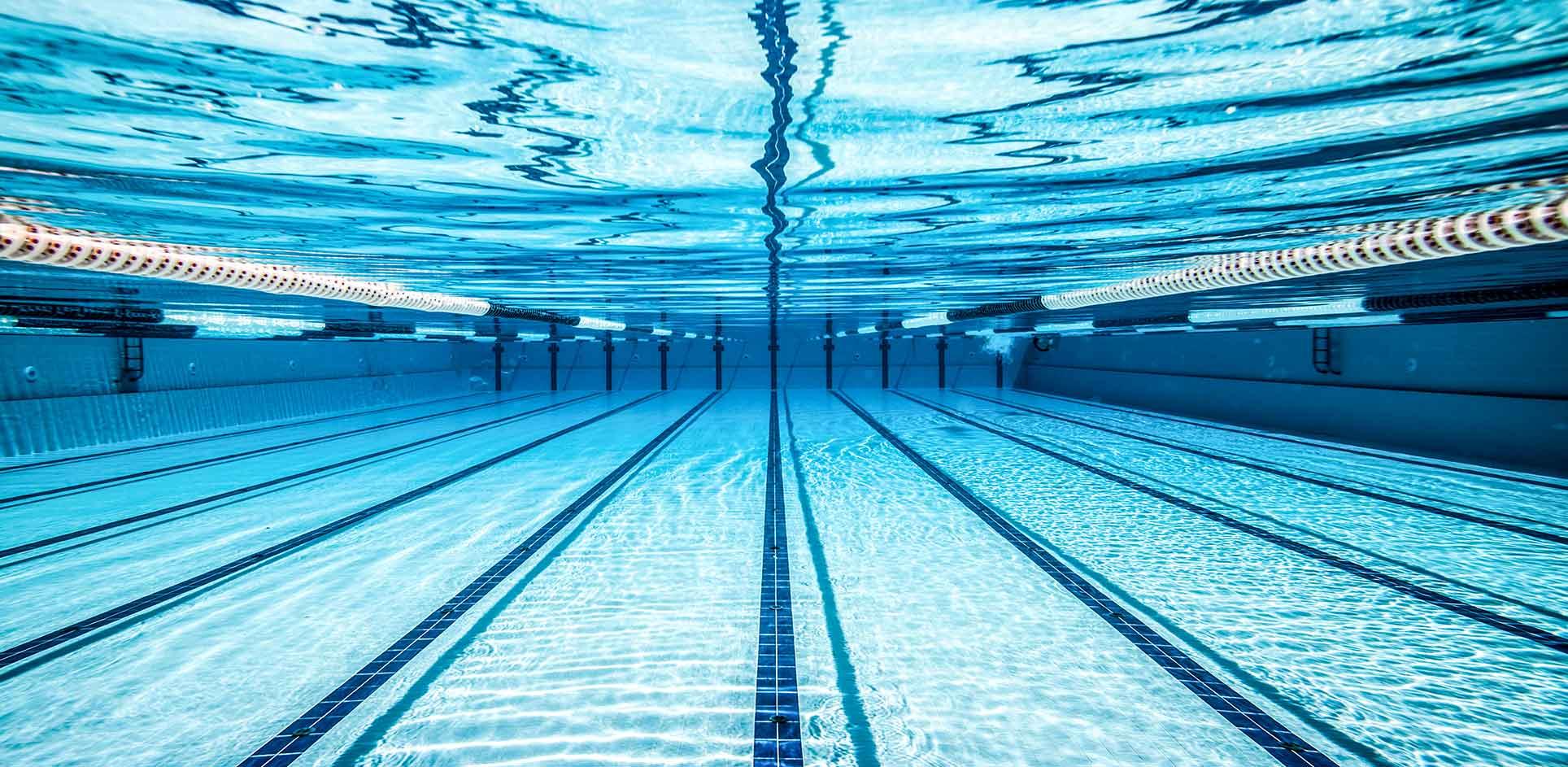 Underwater view of empty pool