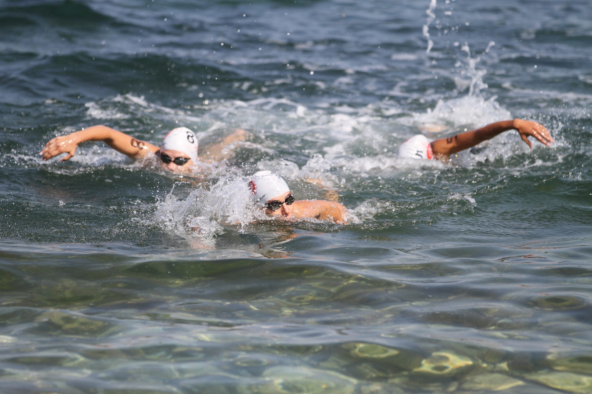 ISTANBUL TURKEY - JULY 30 2017: Athletes competing in swimming component of Istanbul Beylikduzu ETU Triathlon European Cup.