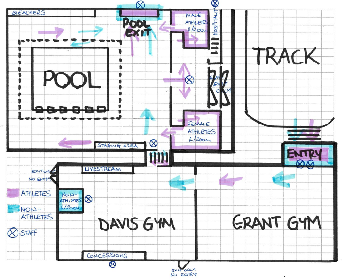 Map of Hargrave around the pool area