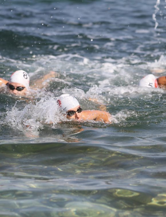 ISTANBUL TURKEY - JULY 30 2017: Athletes competing in swimming component of Istanbul Beylikduzu ETU Triathlon European Cup.